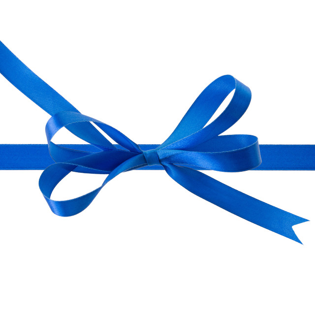 """""""Blue ribbon with a bow on a white background"""" stock image"""