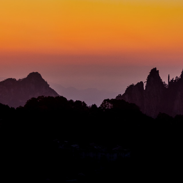 """Dawn approaching Huangshan Mountain, China"" stock image"