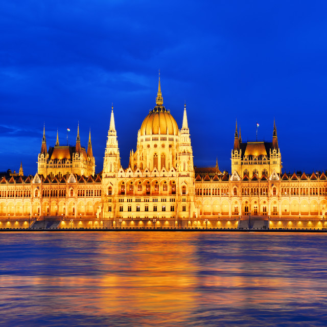 """Hungarian Parliament Building in Budapest by night"" stock image"