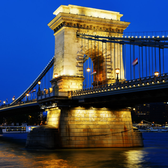 """Chain Bridge on Danube in Budapest by night"" stock image"
