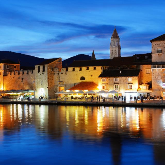 """Old town of Trogir in Dalmatia, Croatia by night"" stock image"