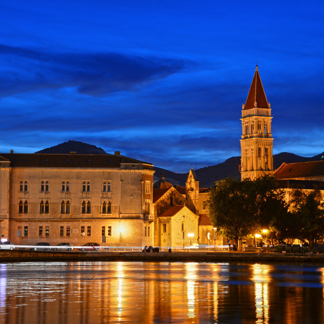 """Old town of Trogir with Cathedral of Saint Lawrence by night"" stock image"