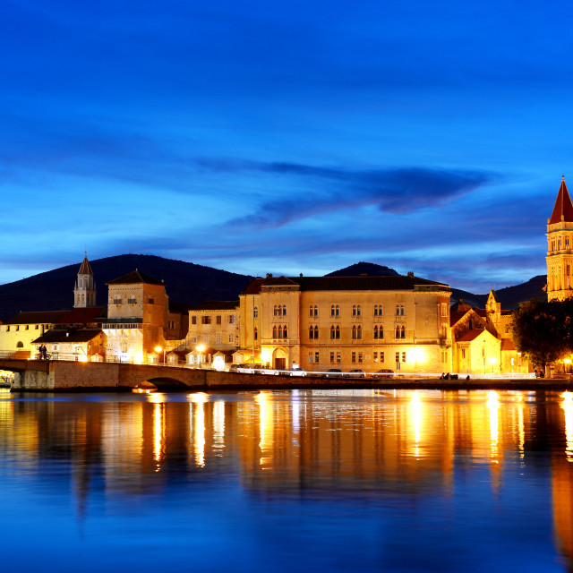 """Old town of Trogir in Dalmatia, Croatia by night"" stock image"