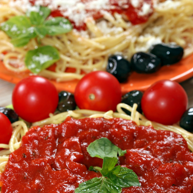 """spaghetti with tomatoes and olives"" stock image"
