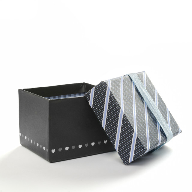 """Open black gift box with ribbon and blue lines Front"" stock image"