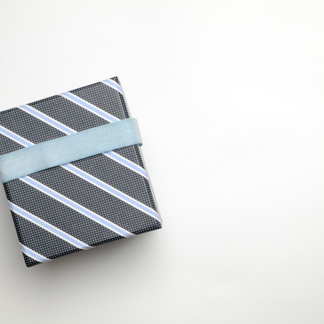 """Black gift box with ribbon and blue lines Top"" stock image"