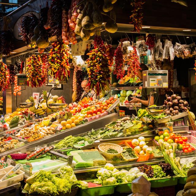 """""""Boqueria fruit & veg market stall Barcelona"""" stock image"""
