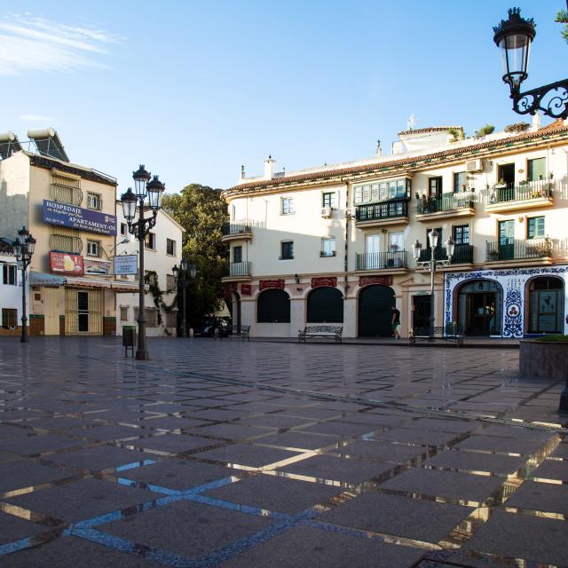 """""""San Miguel Plaza Torremolinos"""" stock image"""