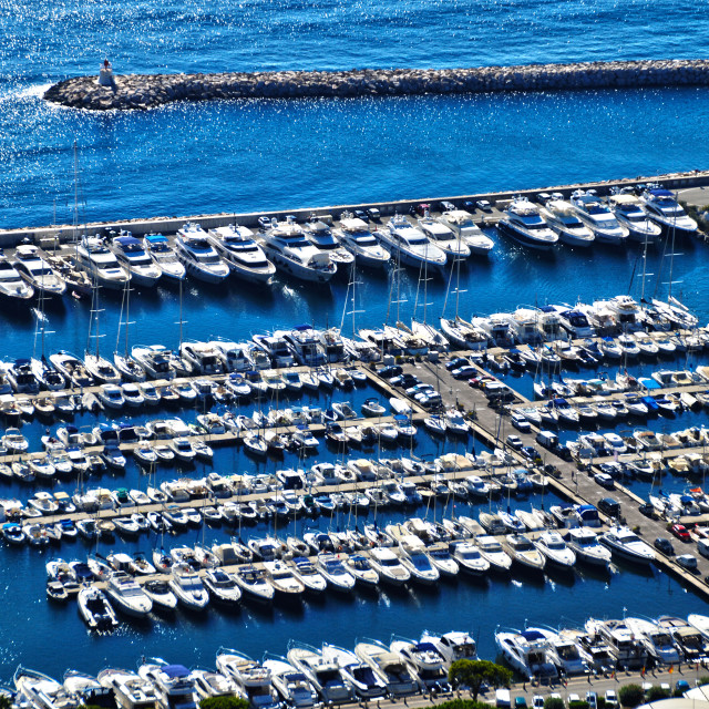 """Aerial view of Mediterranean marina at midday."" stock image"
