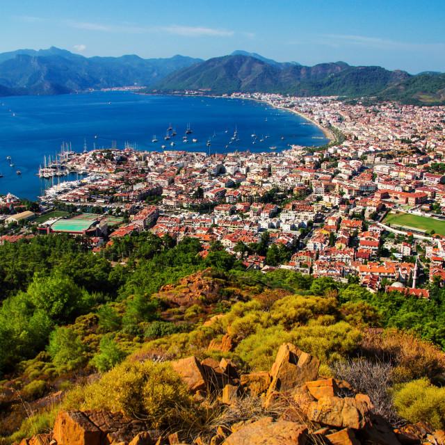"""View of Marmaris harbor on Turkish Riviera."" stock image"