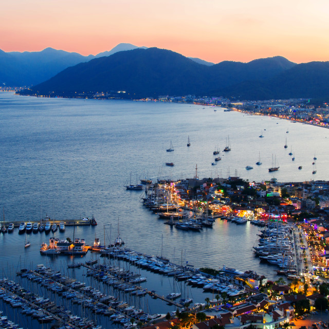 """View of Marmaris harbor on Turkish Riviera by night"" stock image"
