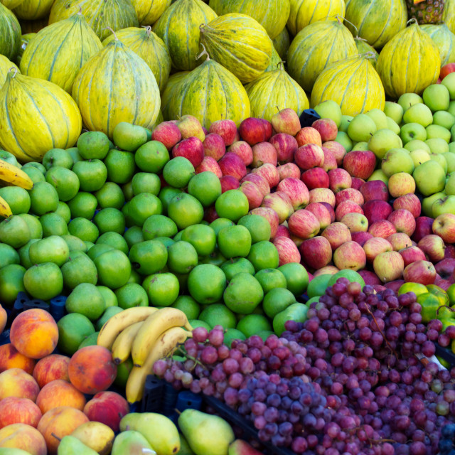 """""""Variety of fresh organic fruits on the street stall"""" stock image"""