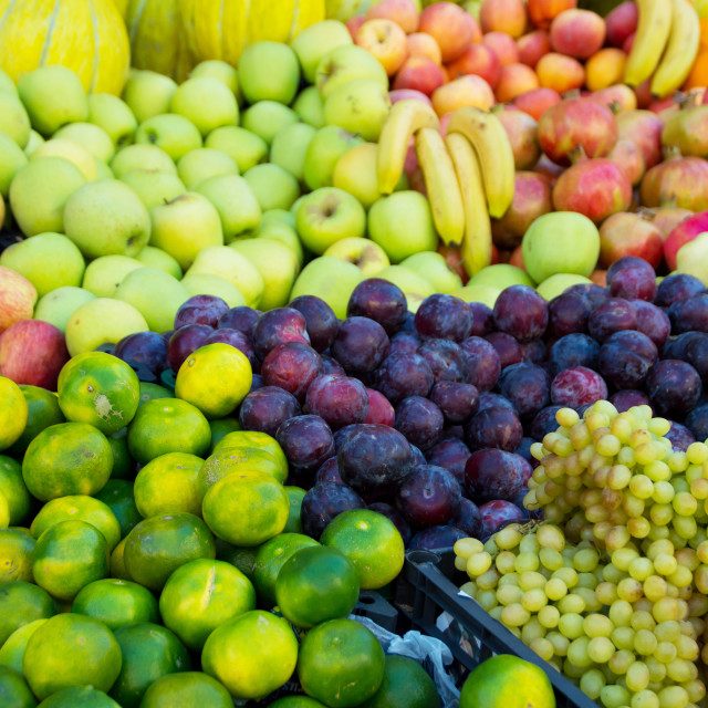 """Variety of fresh organic fruits on the street stall"" stock image"