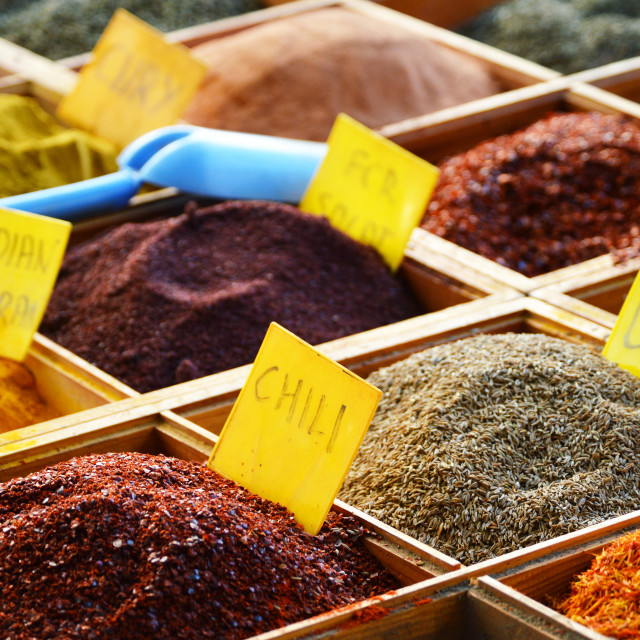 """Variety of spices in the store"" stock image"