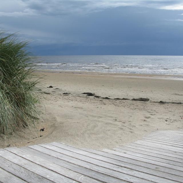 """Sand dune boardwalk"" stock image"