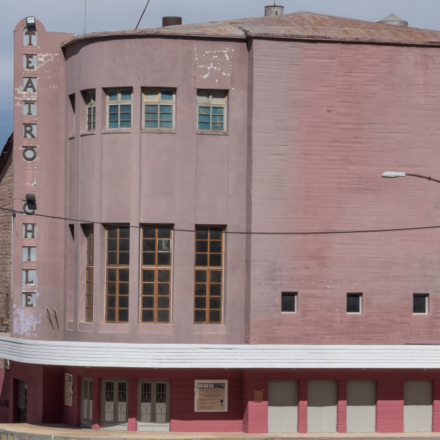 """""""Abandoned theatre and hotel, Chuquicamata ghost town"""" stock image"""