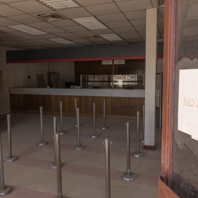 """Abandoned bank, Chuquicamata ghost town"" stock image"