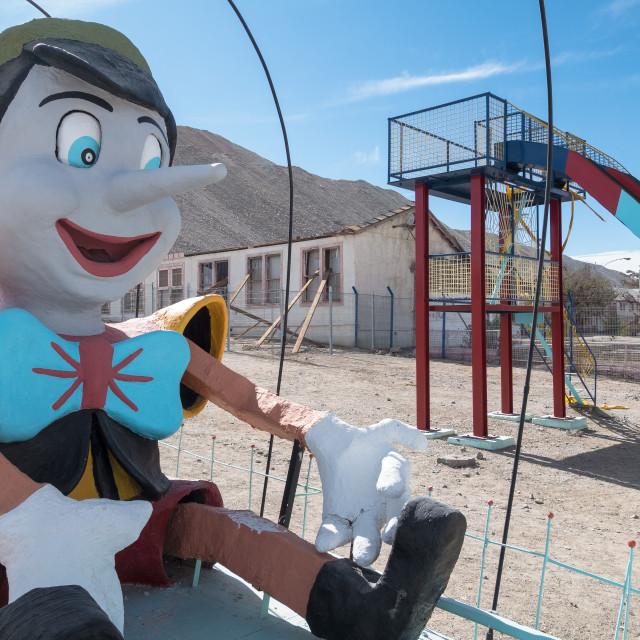 """Abandoned school playground, Chuquicamata ghost town"" stock image"