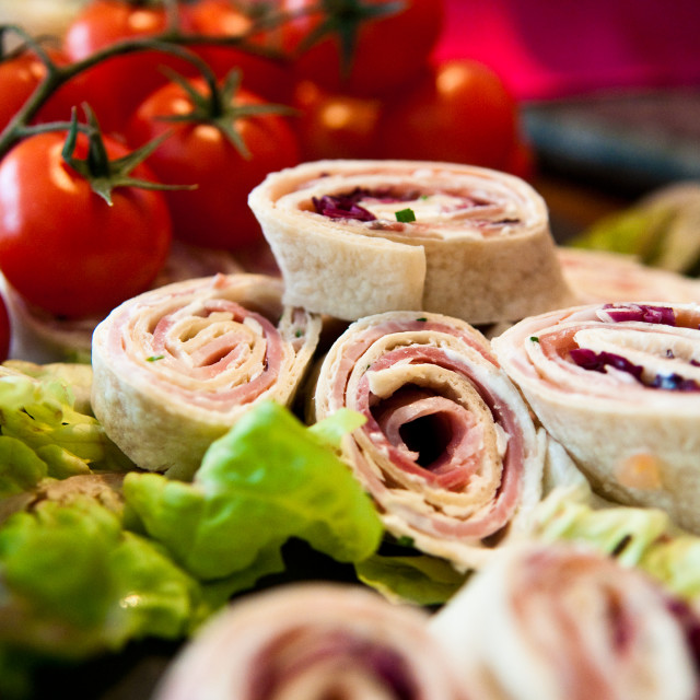 """Ham and Cheese Wraps"" stock image"