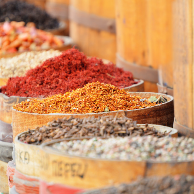 """Variety of spices in arabic store"" stock image"