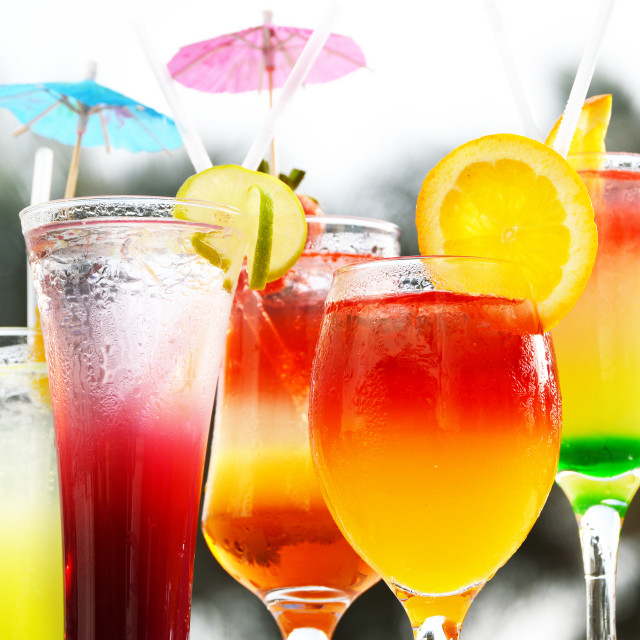 """Composition with five glasses of drinks"" stock image"