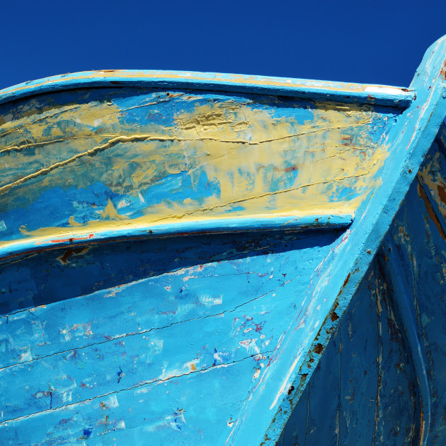 """Old wooden boat over the blue sky during hot summer day"" stock image"