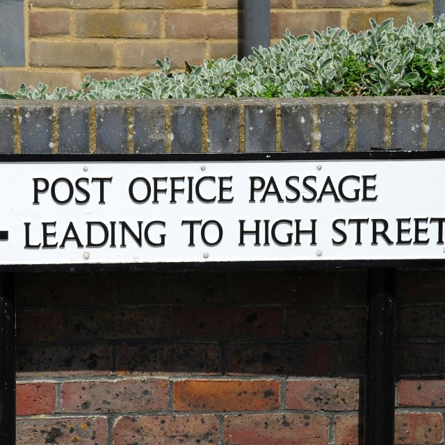"""Post Office Passage sign, Hastings"" stock image"