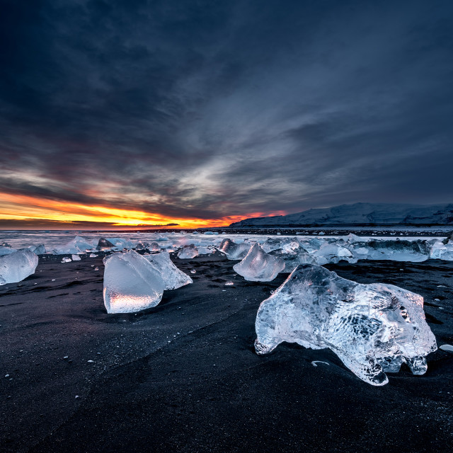 """""""Black beach and icebergs at crystal beach in Iceland"""" stock image"""