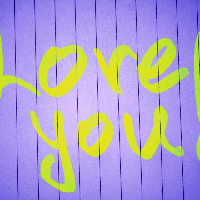 """""""one ''love you'' note"""" stock image"""