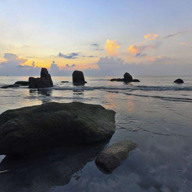 """sunrise view at seaside Kuantan Malaysia"" stock image"