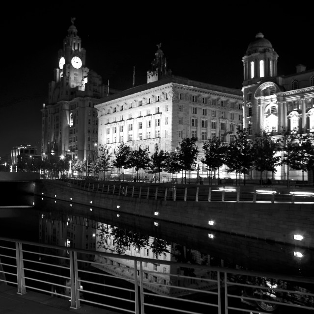 """The Three Graces at Night"" stock image"
