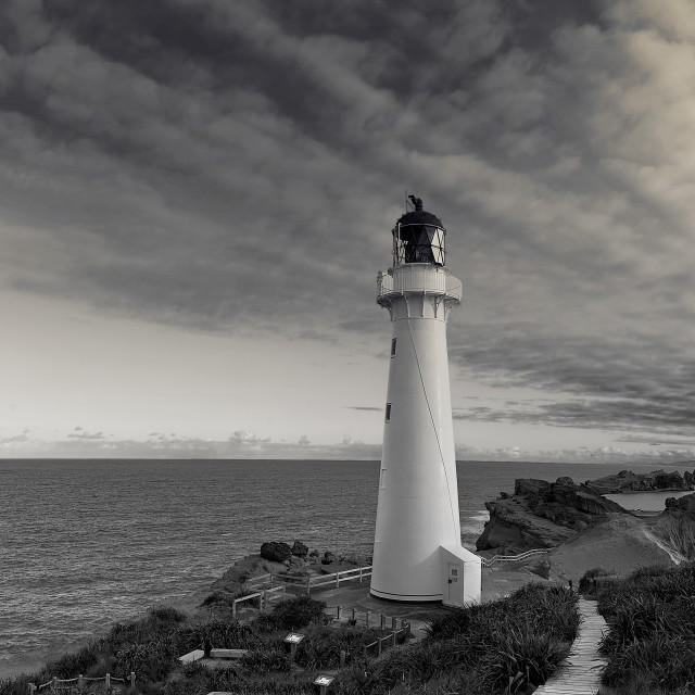 """""""The beauty of Castlepoint in monochrome"""" stock image"""