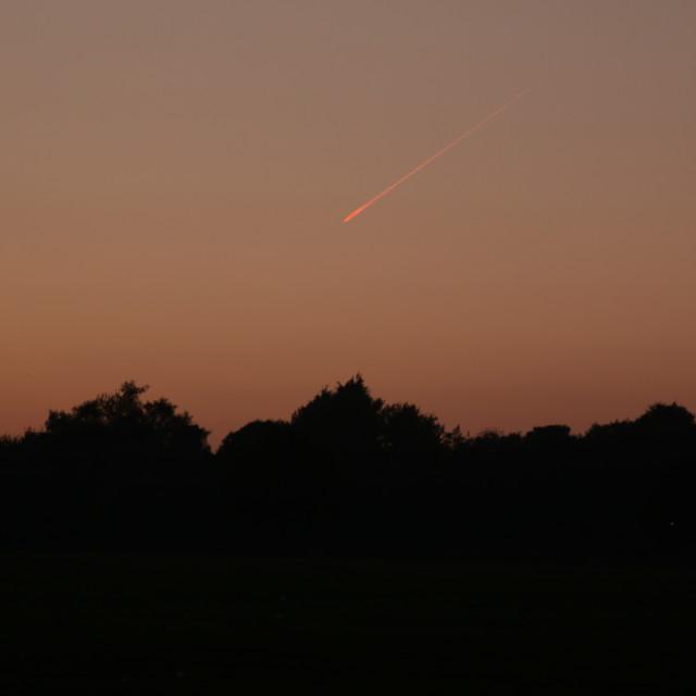 """Plane or Meteorite over Liverpool"" stock image"