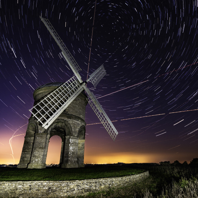 """Star trails at Chesterton windmill"" stock image"