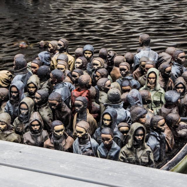 """""""Dismaland - refugee boats"""" stock image"""