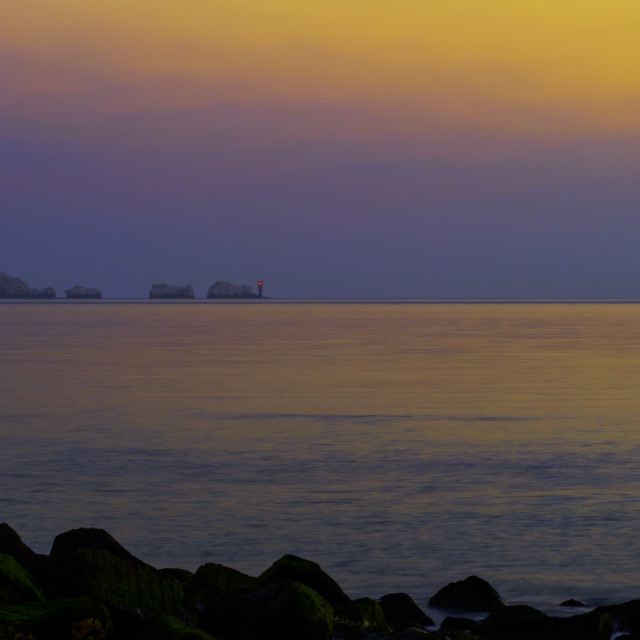 """""""The Needles Lighthouse at dusk"""" stock image"""