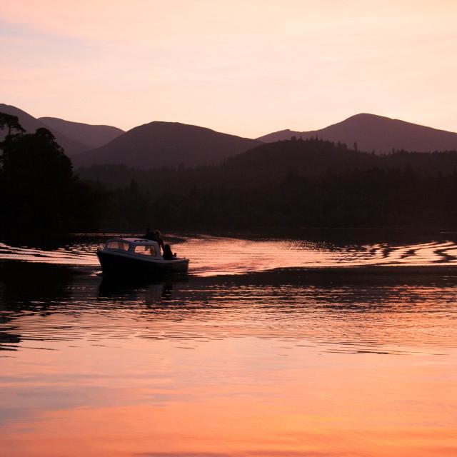 """""""Sunset at Derwentwater Lake District"""" stock image"""