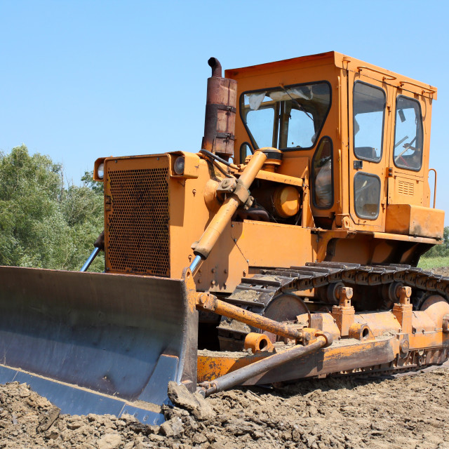 """construction site with bulldozer"" stock image"