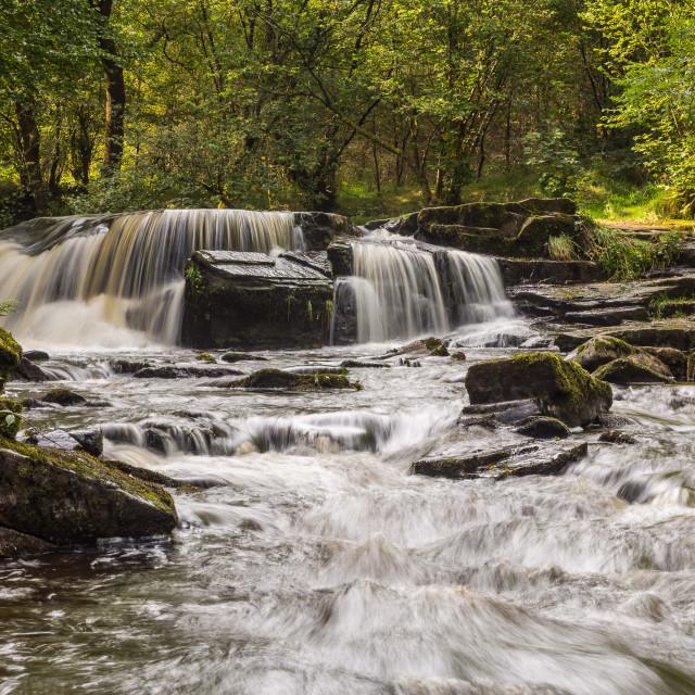"""Taf Fechan River Cascade"" stock image"