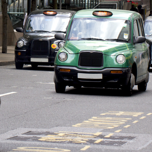 """""""Four London Taxi Cabs"""" stock image"""