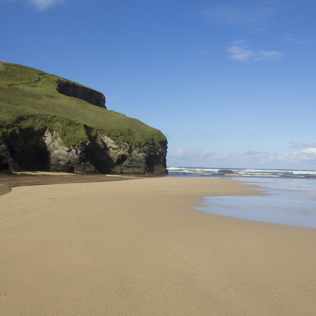 """Empty Bedruthan Beach"" stock image"