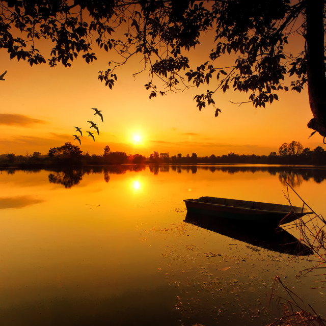 """""""Landscape of river with beautiful of the sunrise"""" stock image"""