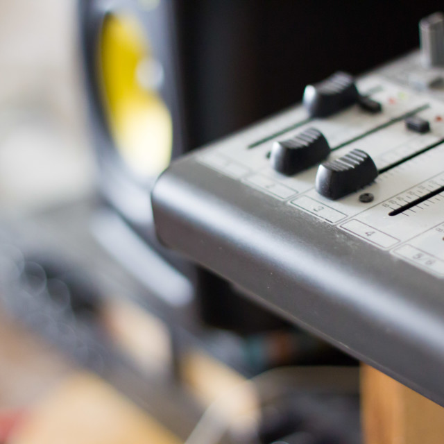 """""""faders on a micro mixing board"""" stock image"""