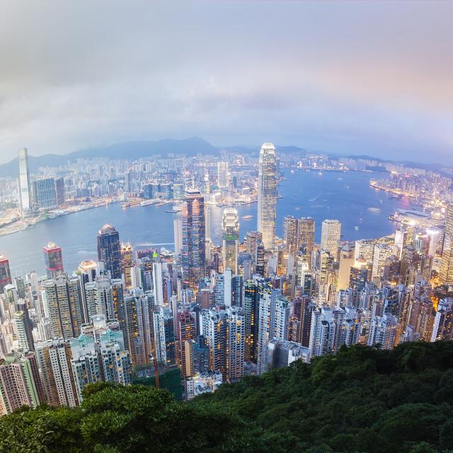 """Panoramic day to night transition of Hong Kong"" stock image"