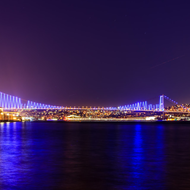 """Istanbul bridge connecting Europe and Asia by night"" stock image"