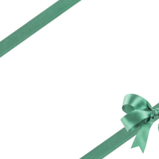 """""""Green ribbon with a bow on white background"""" stock image"""