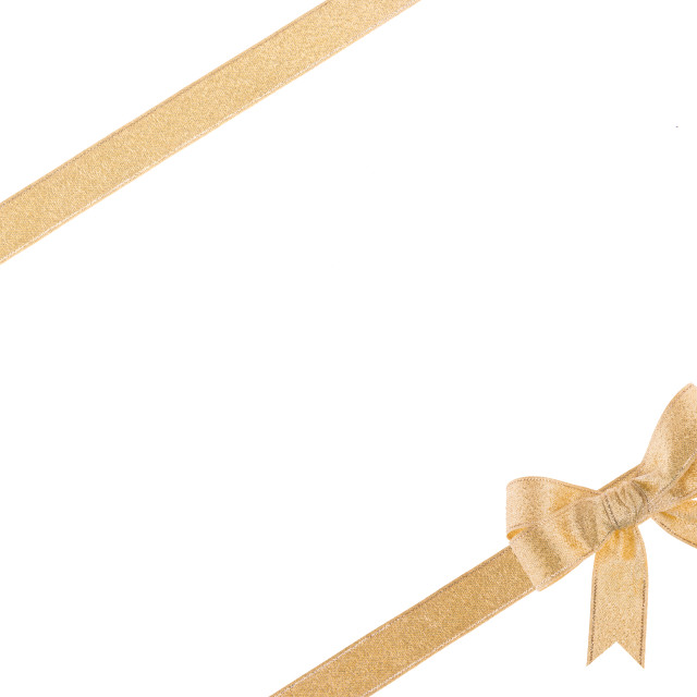 """""""Golden ribbon with a bow on white background"""" stock image"""
