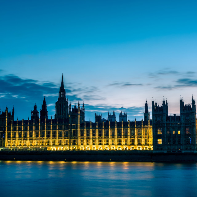 """""""Big Ben and Westminster abbey at night in London, UK"""" stock image"""