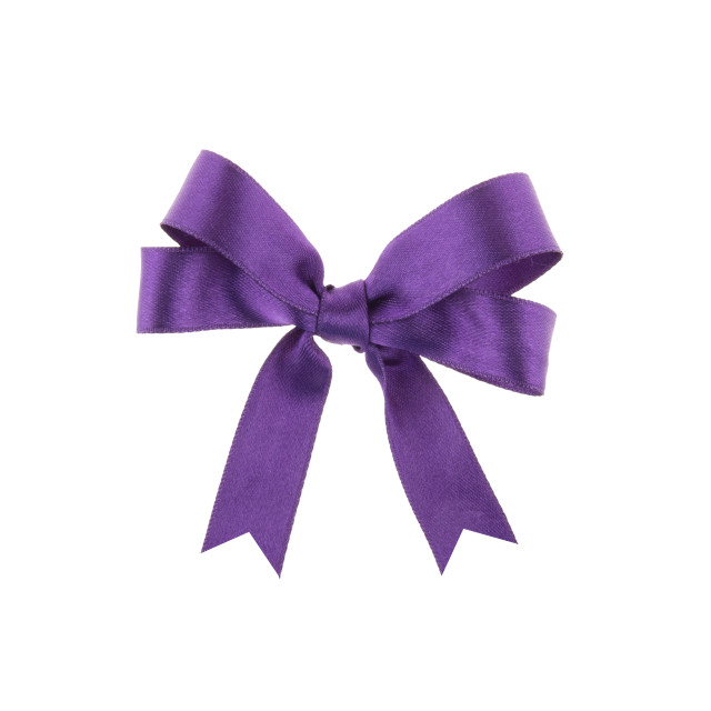 """""""Purple ribbon with a bow on white background"""" stock image"""