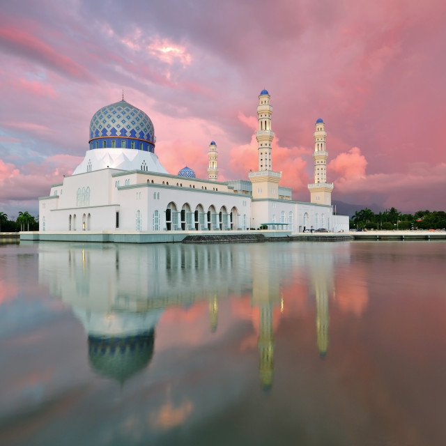 """Sunset at Kota Kinabalu City Floating Mosque"" stock image"